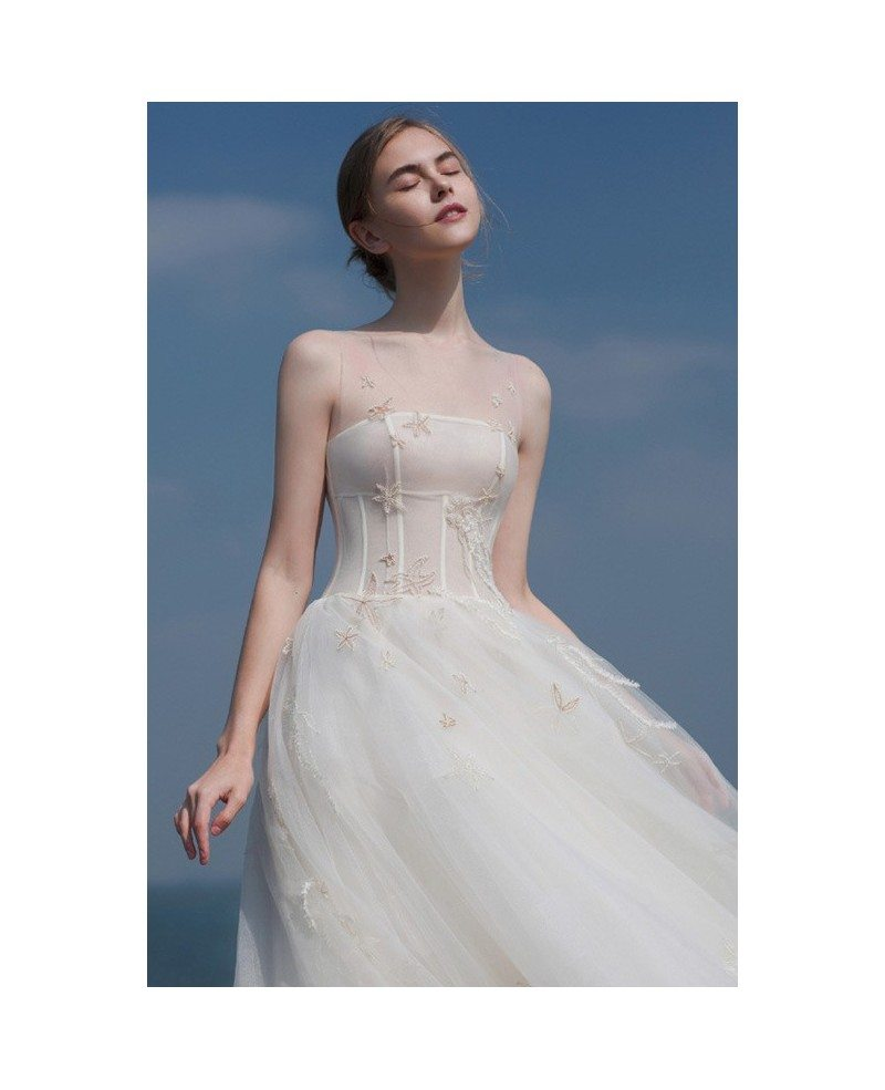 Unique Beaded Lace Sheer Neckline Reception Dress Tea Length Wedding ...