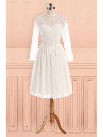 Simple Sheer Round Neck Knee Length Wedding Dress with Long Sleeves