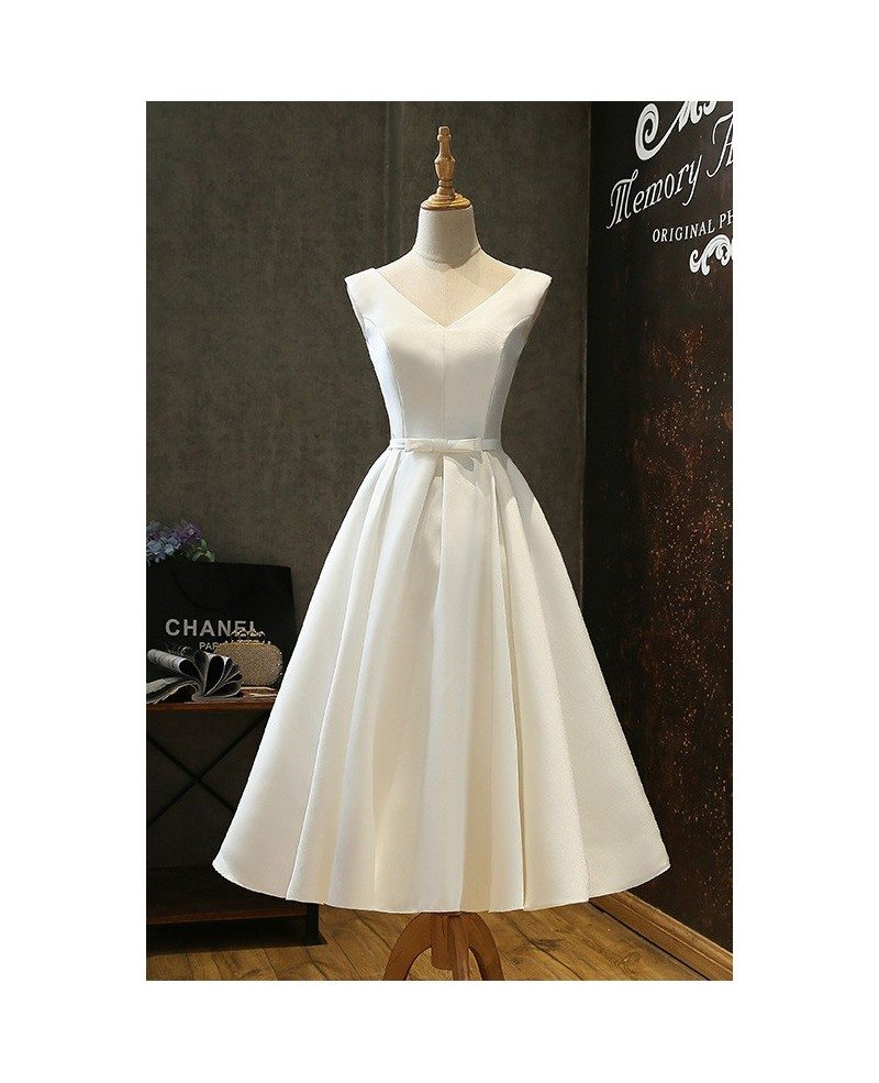 Vintage Satin Chic Tea Length Ivory Wedding Dress Simple with Lace ...