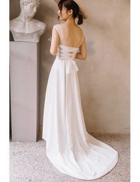 Simple chic illusion neck ankle length high low beach for Simple ankle length wedding dresses