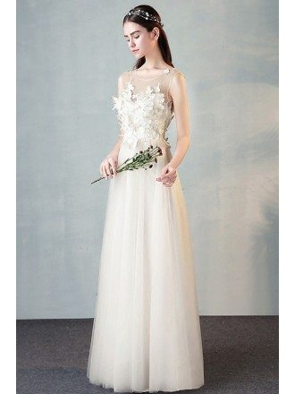 Simple Sleeveless Butterfly Aline Long Wedding Reception Dress Floor Length