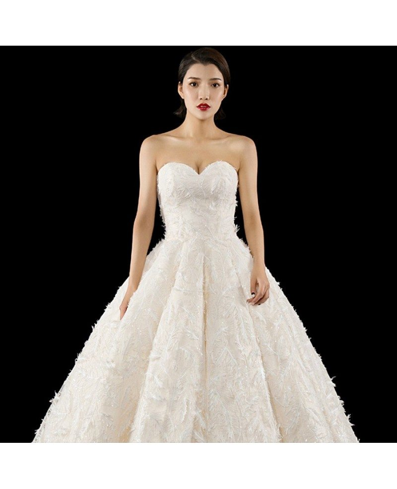 Luxury Bling Feather Ballgown Wedding Dress Sweetheart with Train ...