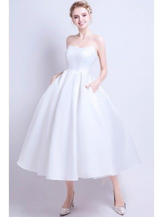 Vintage Chic Satin Tea Length Ballgown Wedding Dress with Pocket Simple Style