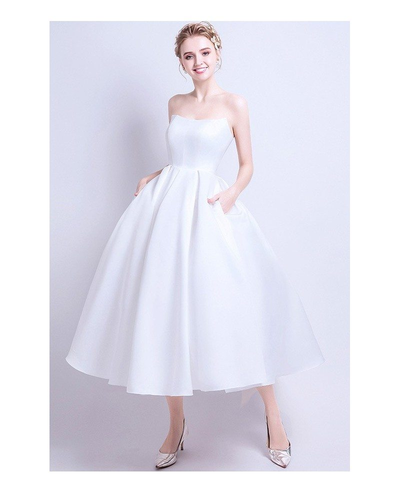 Vintage Chic Satin Tea Length Ballgown Wedding Dress with Pocket ...