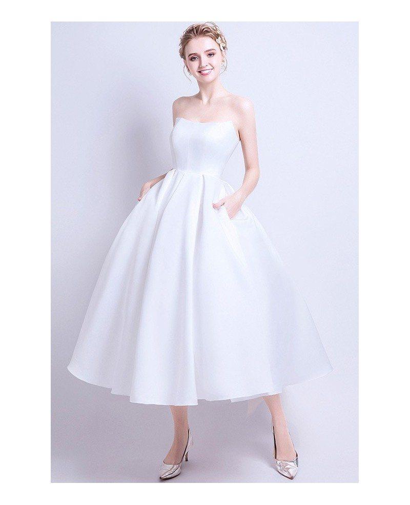 Vintage Chic Wedding Dresses: Vintage Chic Satin Tea Length Ballgown Wedding Dress With