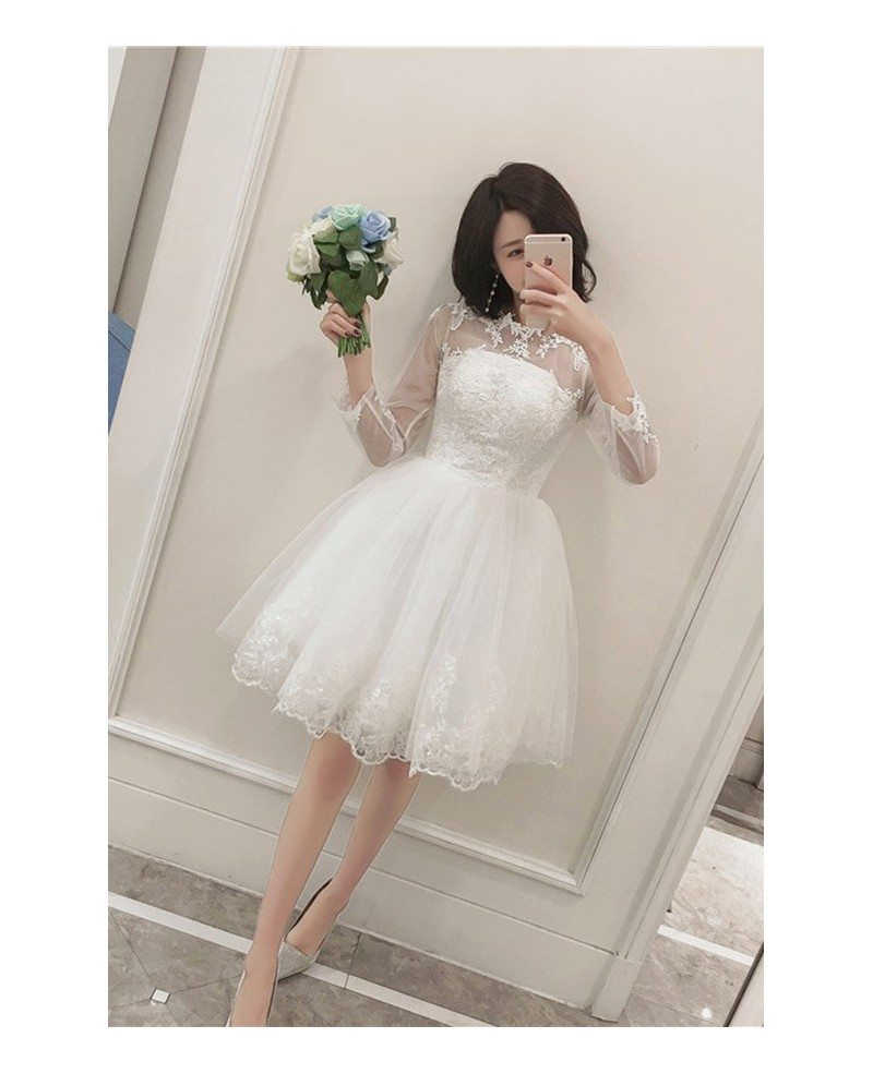 Chic Lace Tulle Short Wedding Reception Dress with Long Sleeves ...