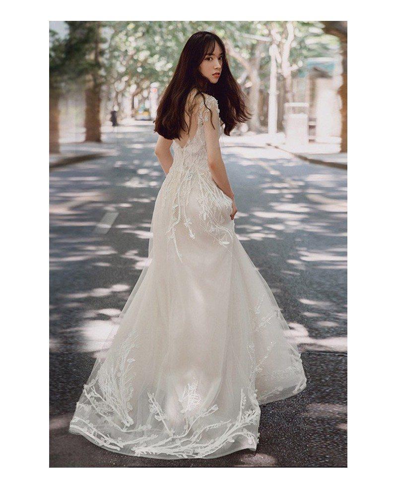 Charming Unique Lace Low Back Boho Beach Wedding Dress Destination ...