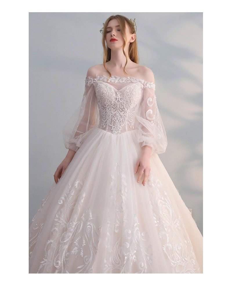 Princess Light Pink Lace Wedding Dress With Off The: Gorgeous Off Shoulder Unique Lace Ballgown Wedding Dress