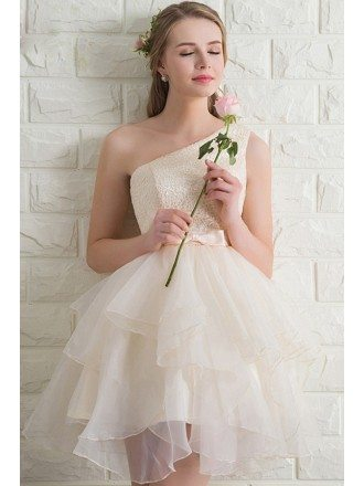Super Cute Light Champagne Ruffled Organza Short Party Dress One Shoulder