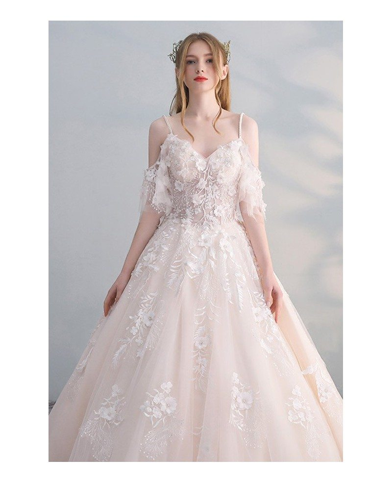 Peachy Ballgown Princess Wedding Dress Tulle with Straps Beaded ...
