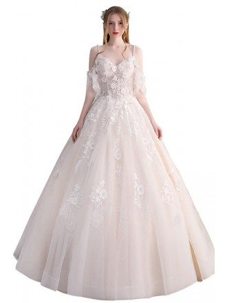 Peachy Ballgown Princess Wedding Dress Tulle with Straps Beaded Flowers