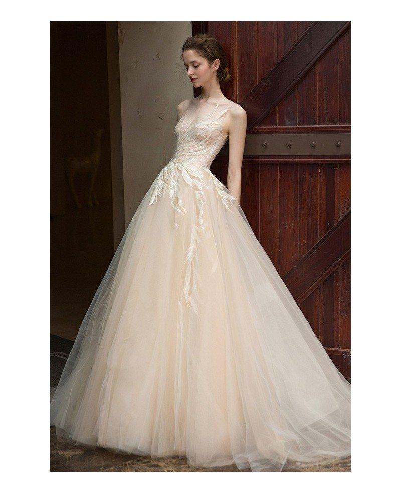 Boho Champagne Ballgown Wedding Dress Tulle Unique Leaf Shape Lace ...