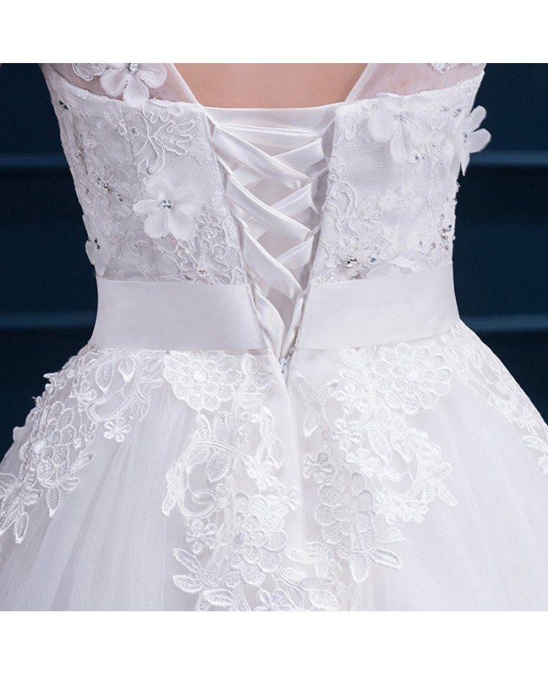 Modest Lace Cap Sleeve Tea Length Wedding Dress Wedding