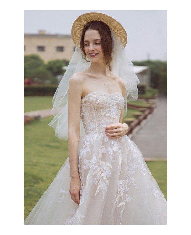 Peachy Boho Leaf Shape Lace Strapless Beach Wedding Dress ...
