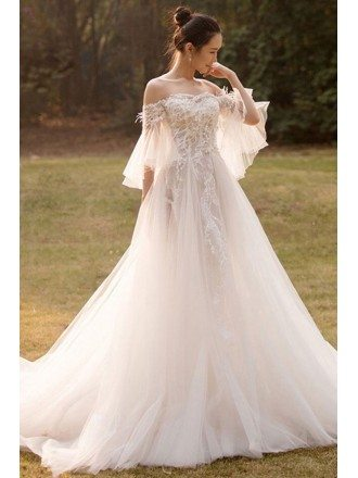 Beaded Lace Off Shoulder Empire Tulle Wedding Dress with Butterfly Sleeves