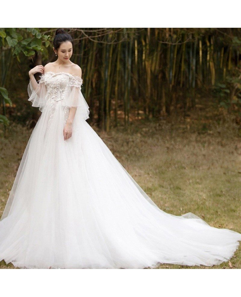 Beaded Lace Off Shoulder Empire Tulle Wedding Dress With