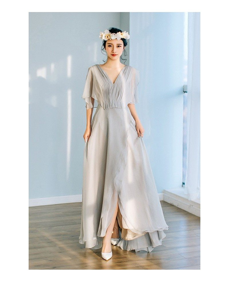 Flowy Grey Chiffon Low Back Beach Wedding Dress with Puffy Sleeves ...