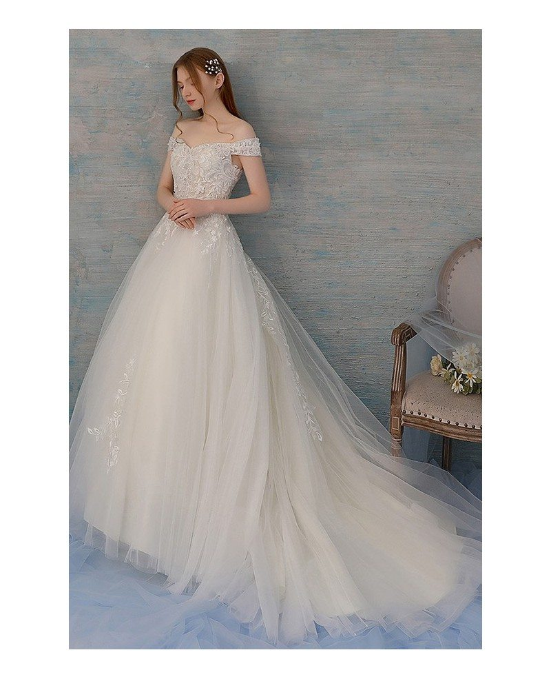 Pretty Ballgown Tulle Wedding Dress With Lace And Off