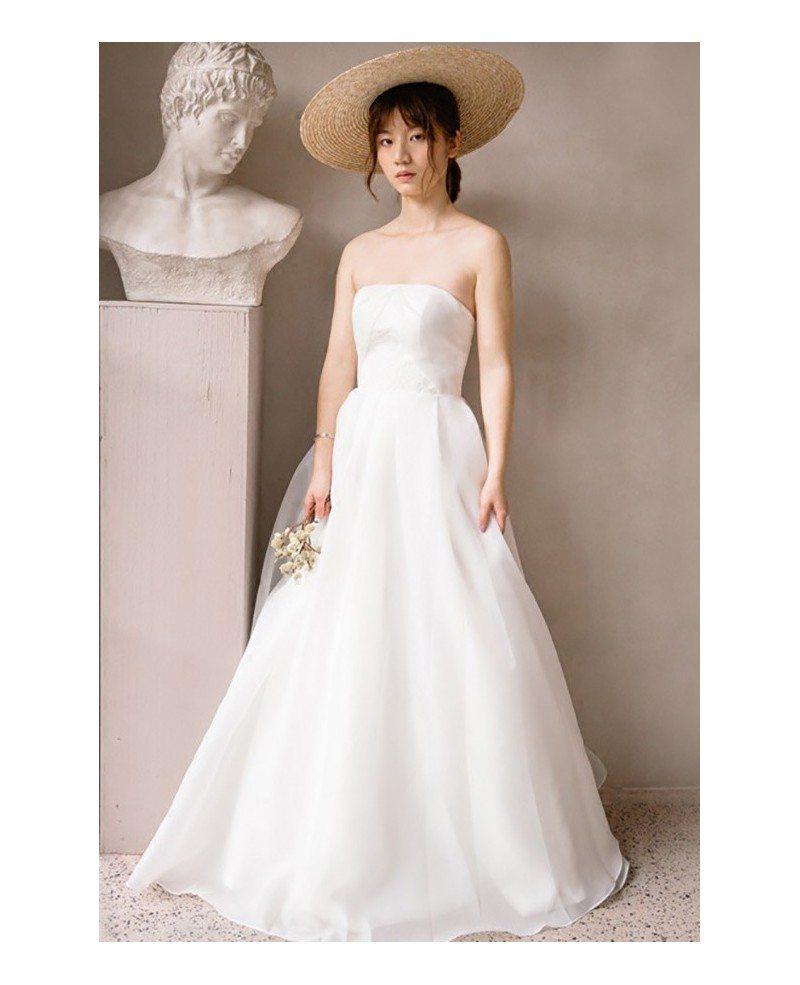 Simple chic strapless white beach wedding dress outdoor for Simple white strapless wedding dress