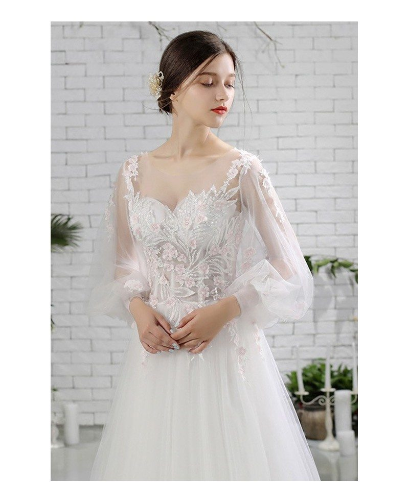 Wedding Dresses Wedding Gown Sheer Long Sleeves White: Flowy Long Tulle Beaded Flowers Beach Wedding Dress With