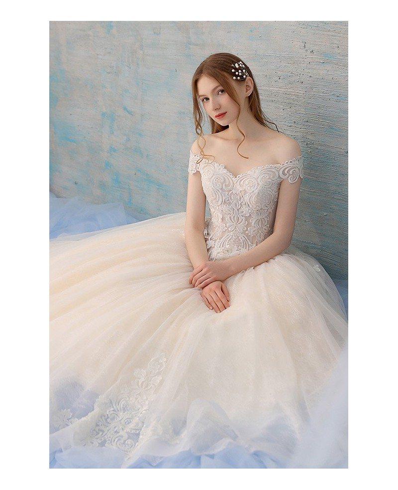 Unique Lace Off Shoulder Champagne Tulle Ballgown Wedding Dress Big ...