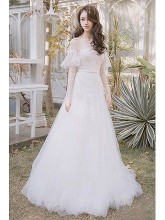 Off Shoulder Leaf Shape Lace Aline Beach Boho Wedding Dress Destination Weddings