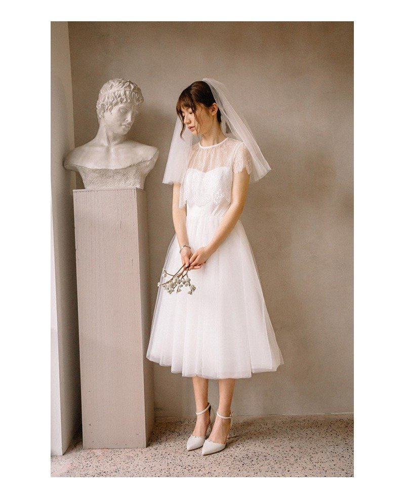 Vintage Short Tulle Tea Length Simple Wedding Dress With