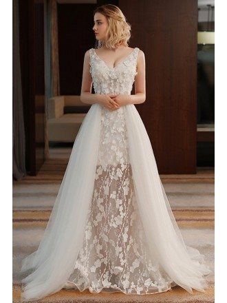 Unique Chic V-neck Split Tulle Flowers Lace Wedding Dress Beach Weddings