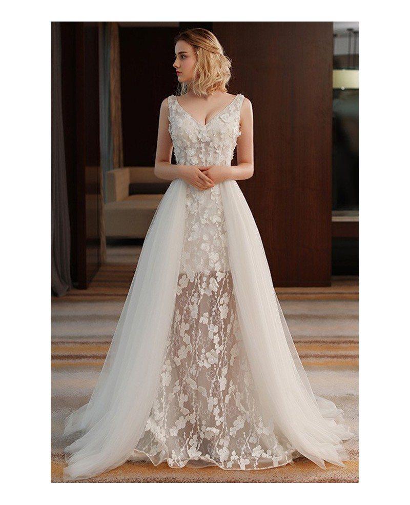 Stylish Wedding Gowns: Unique Chic V-neck Split Tulle Flowers Lace Wedding Dress