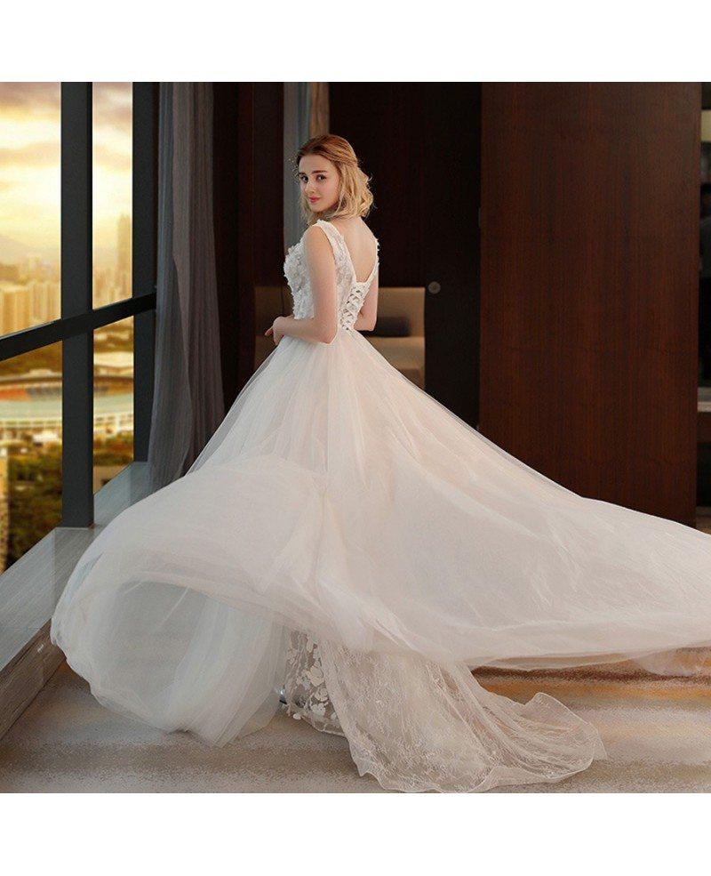 Unique Beach Wedding Ideas: Unique Chic V-neck Split Tulle Flowers Lace Wedding Dress