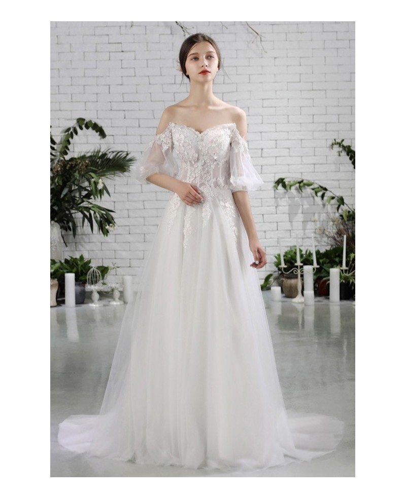 Pretty Off Shoulder Flowers Beach Wedding Dress Flowy With