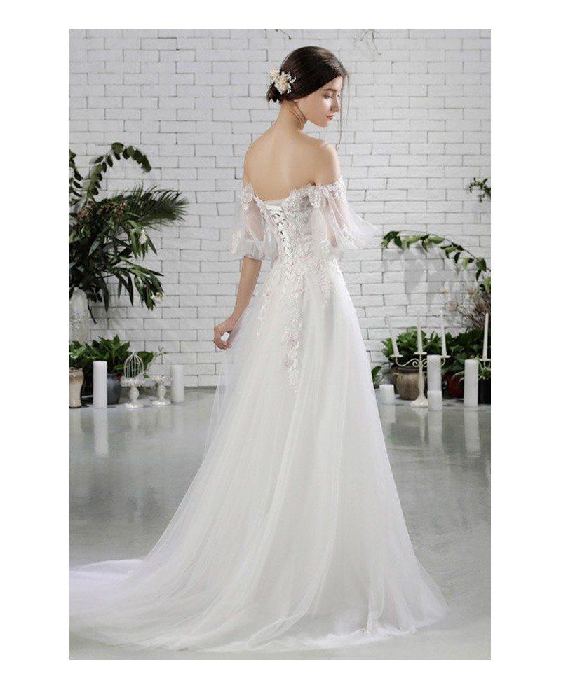 Pretty off shoulder flowers beach wedding dress flowy with for Flowy wedding dresses with sleeves