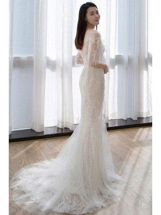 Flowy Tulle Mermaid Beach Wedding Dress with Butterfly Sleeves For Beach Weddings