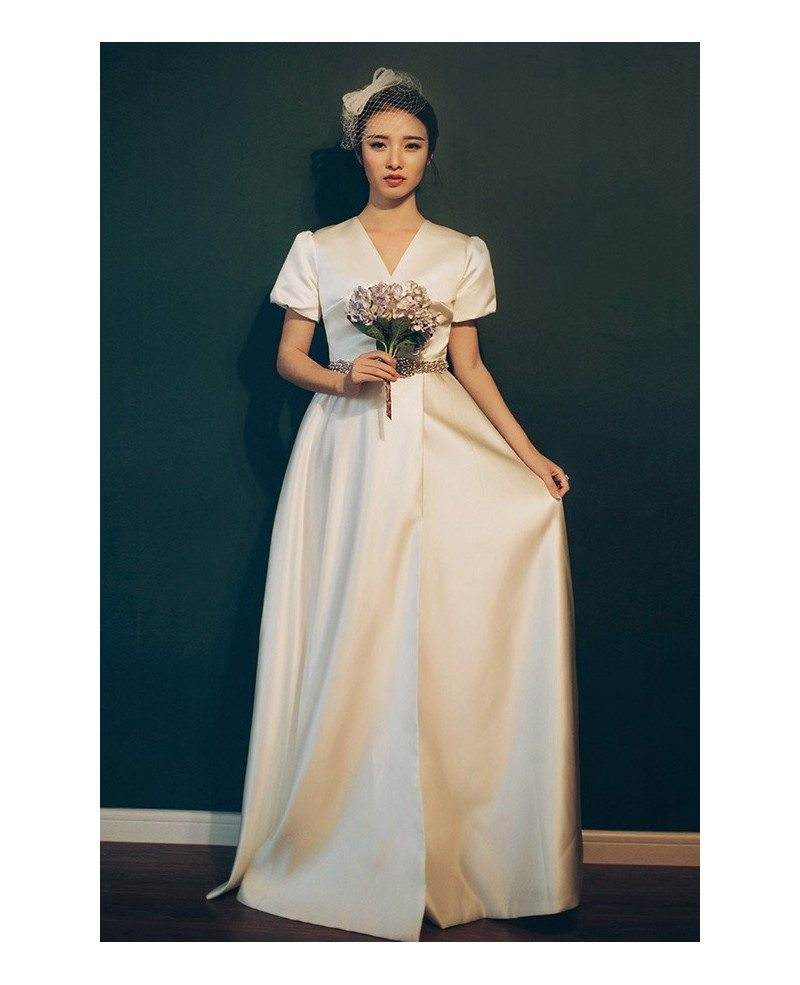 Elegant Silk Wedding Dresses With Sleeves: Elegant Vintage 70s 80s Split Leg Satin Wedding Dress