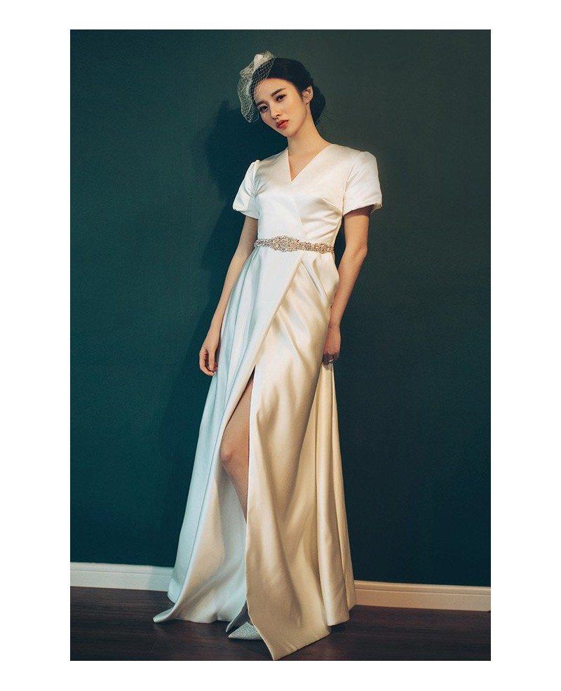 Elegant Vintage 70s 80s Split Leg Satin Wedding Dress