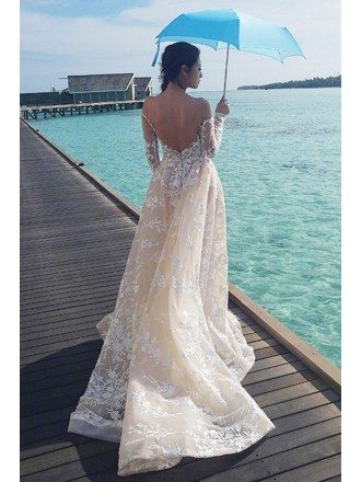 Celebrity Style Sexy Low Back Lace Beach Wedding Dress with Long Sleeves
