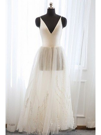 Vintage Tea Length Tulle Wedding Dress with Unique Lace For Destination Weddings