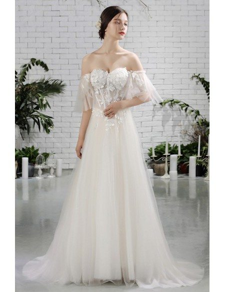 Charming Off Shoulder Sleeves Flowy Beach Wedding Dress