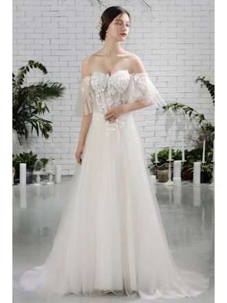 Charming Off Shoulder Sleeves Flowy Beach Wedding Dress Bohemian Style