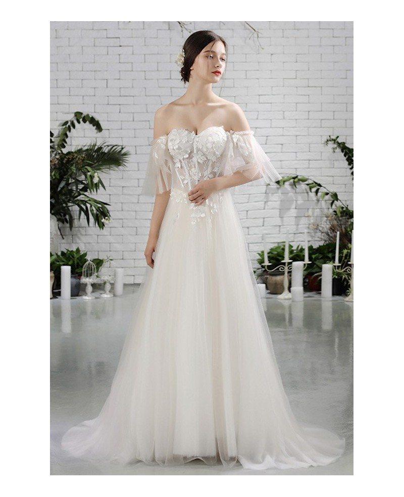 Charming Off Shoulder Sleeves Flowy Beach Wedding Dress Bohemian ...