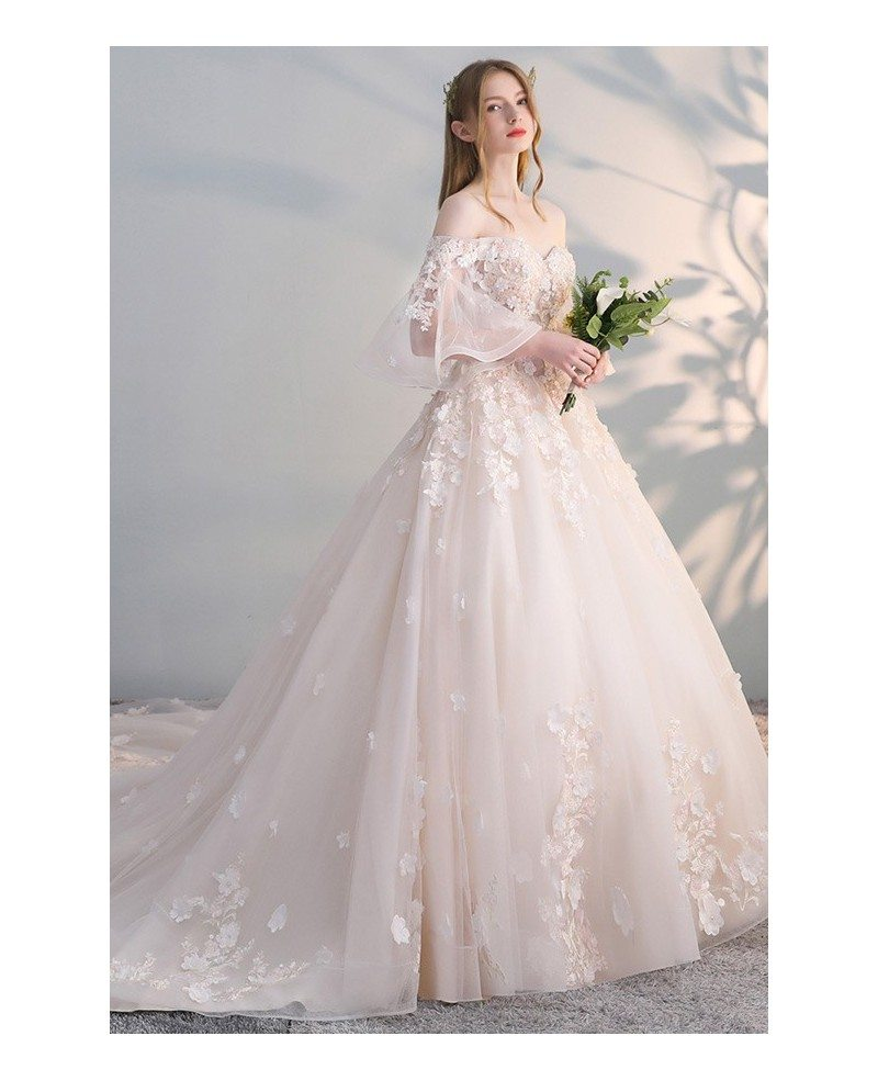 Off Shoulder Ballgown Flowers Princess Wedding Dress Butterfly ...
