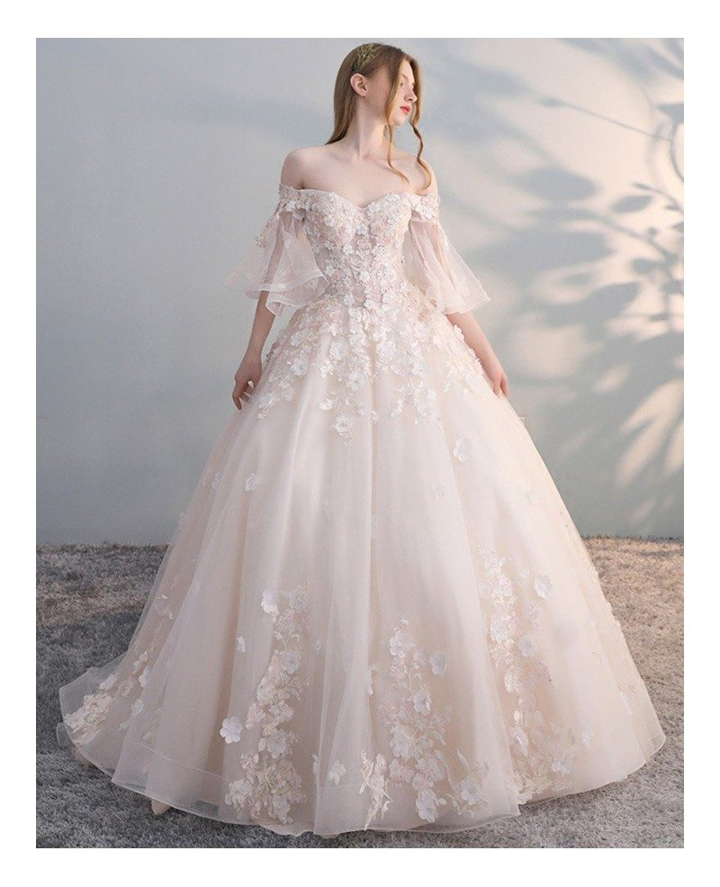 Wedding Dresses: Off Shoulder Ballgown Flowers Princess Wedding Dress