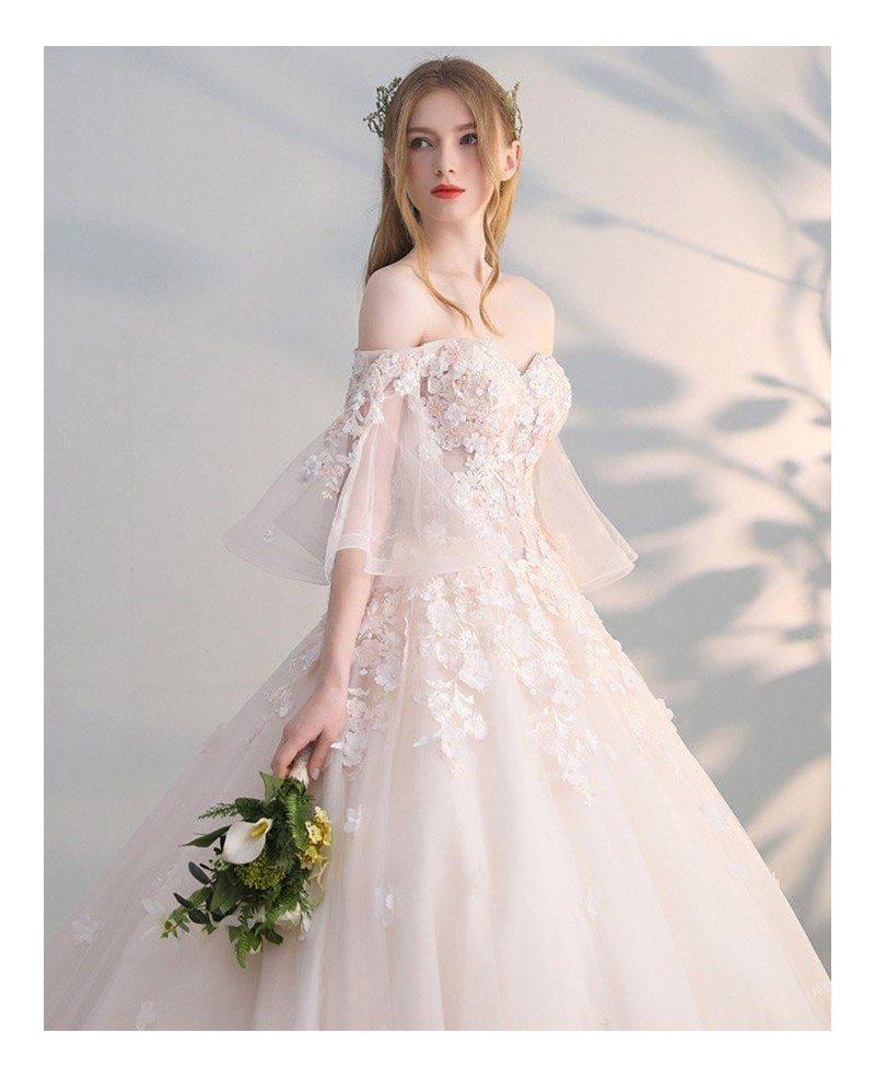 Off Shoulder Ballgown Flowers Princess Wedding Dress