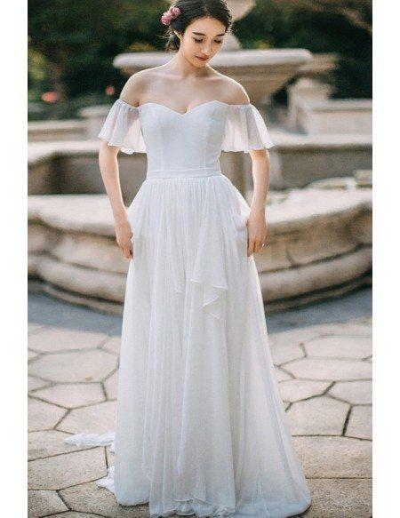 Simple flowy chiffon off shoulder sleeve summer wedding dress long elegant  jpg 450x583 Flowy long sleeve 78e41e09f999