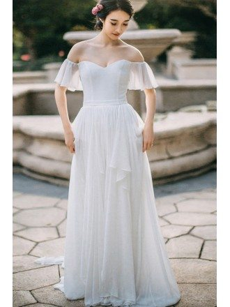 Simple Flowy Chiffon Off Shoulder Sleeve Summer Wedding Dress Long Elegant