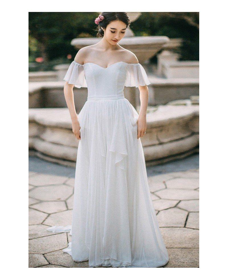 Elegant Simple Long Sleeve Wedding Dress: Simple Flowy Chiffon Off Shoulder Sleeve Summer Wedding