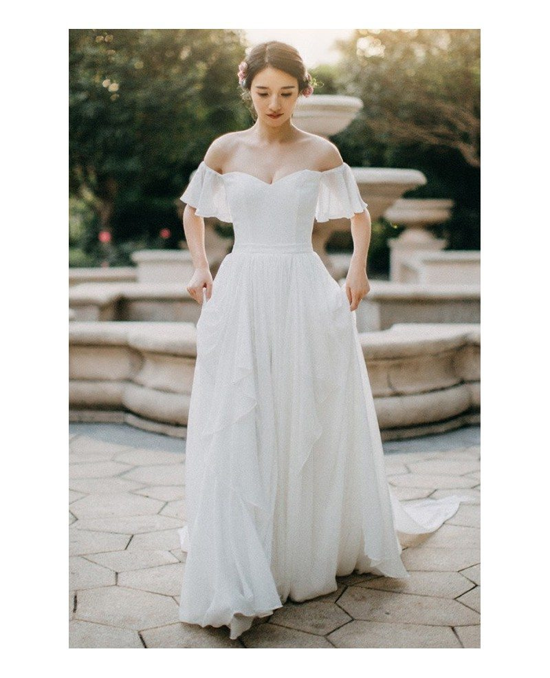 Simple Elegant Wedding Dress With Sleeves Woman And More: Simple Flowy Chiffon Off Shoulder Sleeve Summer Wedding