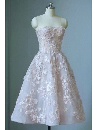 Gorgeous Strapless Beaded Flowers Tea Length Wedding Dress Corset Style