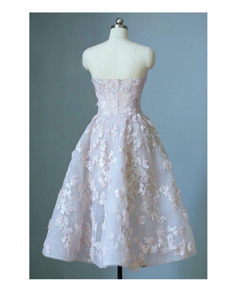 Gorgeous Strapless Beaded Flowers Tea Length Wedding Dress Corset ...