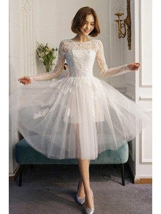 Chic Short See-through Tulle V-back Short Wedding Dress with Beading Long Sleeves